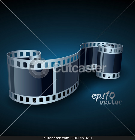 realistic vector reel film stock vector clipart, vector realistic 3d film reel by pinnacleanimates