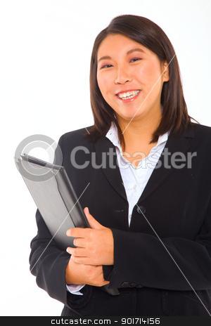 asian businesswoman with documents stock photo, asian businesswoman with documents by ambrophoto