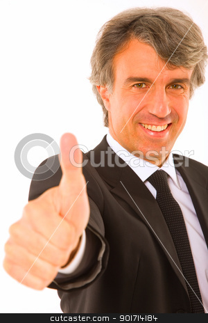 businessman with thumb up stock photo, businessman with thumb up by ambrophoto