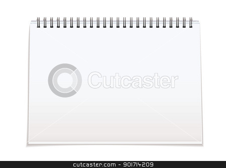 Spiral bound blank pad stock vector clipart, Plain white paper note pad with spiral bind spine and shadow by Michael Travers