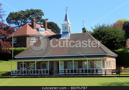 Bowling green pavilion stock photo, Traditional English bowling green pavilion building in summer. by Martin Crowdy