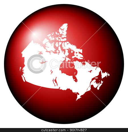 Canada map button stock photo, Red Canada map button isolated on white background. by Martin Crowdy