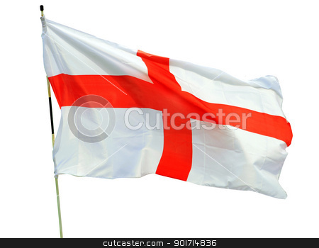 English flag stock photo, English Cross of Saint George flag blowing in wind and isolated on white background. by Martin Crowdy