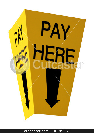 Pay here sign stock photo, Yellow car parking pay here sign isolated on a white background. by Martin Crowdy
