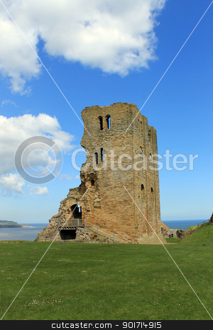 Scarborough Castle stock photo, Scarborough Castle with blue sky and cloudscape background. by Martin Crowdy