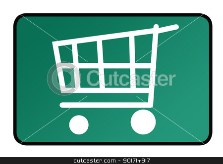 Shopping sign stock photo, Shopping cart sign on green button. by Martin Crowdy