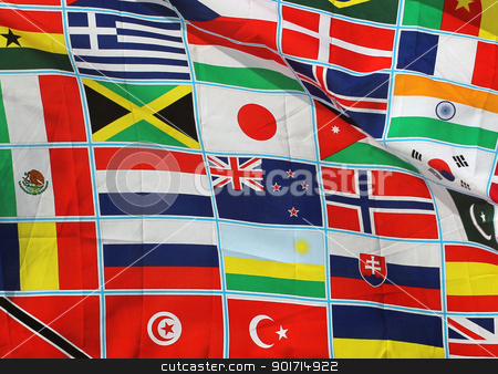 World flags stock photo, Background of world flags all together in harmony. by Martin Crowdy