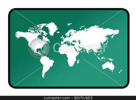 World map sign stock photo, A world map sign os green background. by Martin Crowdy