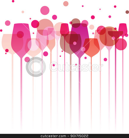 Pinky Party Glasses stock vector clipart, A funky illustration of various alcohol drink glasses, perfect for menu, poster and cover design etc. by HypnoCreative