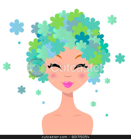 Beautiful woman with floral hairstyle stock vector clipart, Cute beauty woman with floral hair isolated on white. Vector by BEEANDGLOW