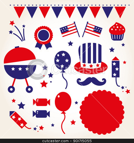 Independence day retro icons ( vector ) stock vector clipart, 4th of July icon collection. Vector Illustration by Jana Guothova
