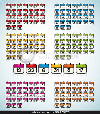 calendar icons stock vector clipart, colored icons with the days of the month by Miroslava Hlavacova