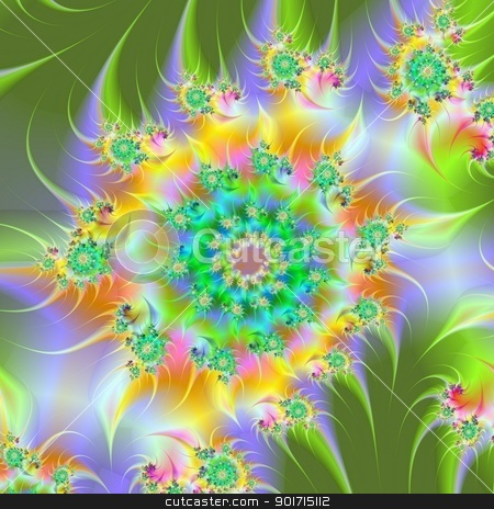 Spiral Garden stock photo, Digital abstract spiral design in green, yellow, lilac and orange by Colin Forrest