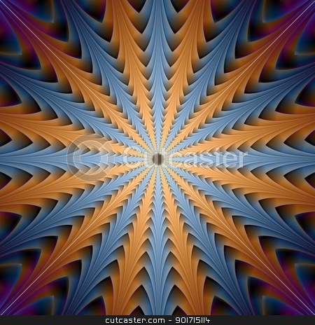 Centre Point in Blue and Orange stock photo, Digital abstract image with a centre pointing radial design in blue and orange that may produce an optilal illusion of movement by Colin Forrest