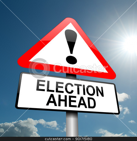 Election concept. stock photo, Illustration depicting a road traffic sign with a election concept. Blue sky background. by Samantha Craddock