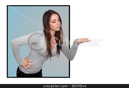 Attractive Brunette With Her Hand Out (2) stock photo, An attractive brunette with her hand out, palm up, extending beyond a frame for a 3-D effect.  Isolated on a white background with generous copyspace. by Carl Stewart