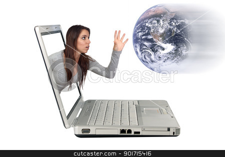 Attractive Brunette Reaching From a Laptop (3) stock photo, An attractive brunette reaching beyond a laptop computer screen to catch the earth for a 3-D effect.  Isolated on a white background with generous copyspace. by Carl Stewart