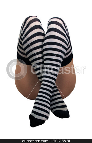 Female Legs with Striped Stockings (2) stock photo, A close-up of female legs wearing striped stockings, isolated on a white background with generous copyspace. by Carl Stewart
