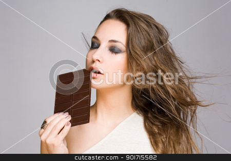 Sensual chocolate girl. stock photo, Portrait of a sensual happy brunette chocolate girl. by exvivo