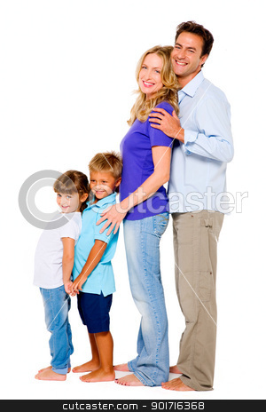 couple with two children stock photo, couple with two children by ambrophoto