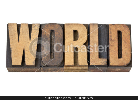 worl word in letterpress wood type stock photo, world - isolated text in vintage letterpress wood type by Marek Uliasz