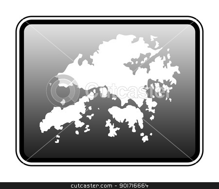 Hong Kong map on computer tablet stock photo, Hong Kong map on modern computer tablet, isolated on white background. by Martin Crowdy