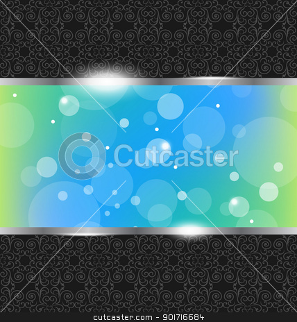 Abstract metallic background with floral texture stock vector clipart, Illustration abstract metallic background with floral texture - vector by -=Mad Dog=-