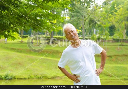Healthy senior stock photo, Retired Asian senior man exercising in park by szefei