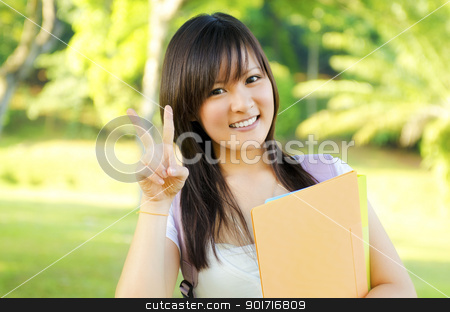 Cute student stock photo, Cute teen with victory sign standing by szefei
