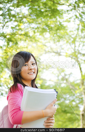 College student stock photo, College student standing outside campus, green park by szefei