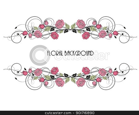frame stock vector clipart, roses decoration on white background by Miroslava Hlavacova