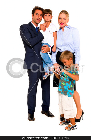 family with two children stock photo, family with two children by ambrophoto