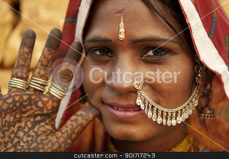Indian woman stock photo, Portrait of a India Rajasthan woman with her henna tattoo by szefei