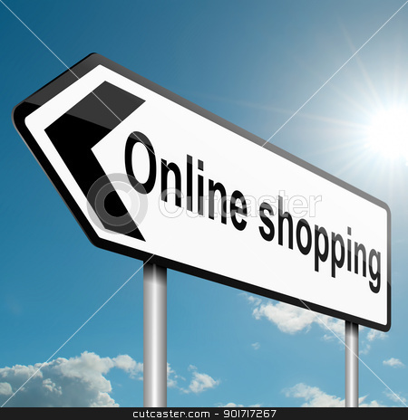 Online shopping concept. stock photo, Illustration depicting a road traffic sign with an online shopping concept. White background. by Samantha Craddock