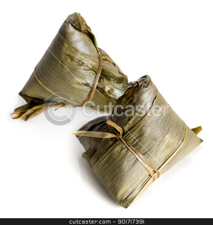 Rice Dumplings stock photo, Chinese Rice Dumplings on white background. by szefei