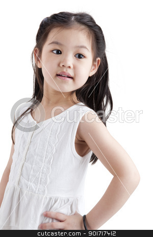 Little Asian girl stock photo, Little Asian girl in white dress on white background by szefei
