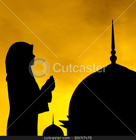 Muslim prayer and mosque stock photo, Silhouette of prayer and mosque in sunset. by szefei