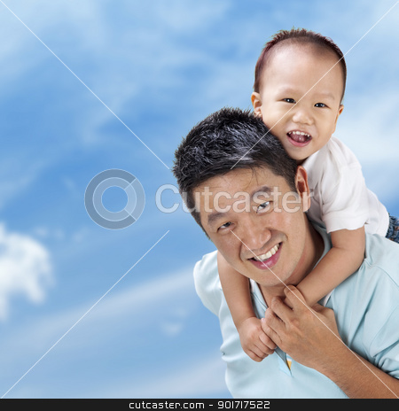Outdoor fun stock photo, Outdoor Asian family over blue sky by szefei