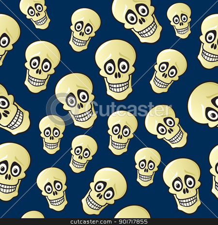 Seamless Cartoon Skull Pattern stock vector clipart, A seamless pattern of cartoon skulls with wide eyes and a dark blue background. by Jamie Slavy