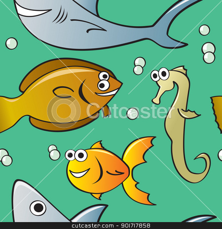 Seamless Cartoon Fish Pattern stock vector clipart, A seamless pattern featuring various types of cartoon fish who are unserwater surrounded by bubbles. by Jamie Slavy