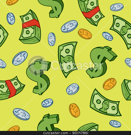 Seamless Cartoon Money Pattern stock vector clipart, Seamless cartoon money and dollar sign pattern. by Jamie Slavy