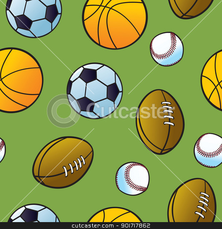 Seamless Cartoon Sports Ball Pattern stock vector clipart, Seamless cartoon balls from popular team sports on a green background. by Jamie Slavy