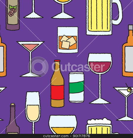 Seamless Cartoon Alcoholic Beverage Pattern stock vector clipart, A seamless pattern of various alcohol related drinks, glasses, cans and bottles. by Jamie Slavy