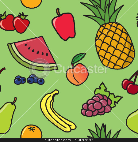 Seamless Cartoon Fruit Pattern stock vector clipart, A seamless pattern of common fruit that would be found at most grocery stores. by Jamie Slavy