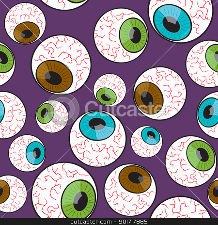 Seamless Creepy Eyeball Pattern stock vector clipart, A seamless pattern made up of creepy eyeballs staring into different directions. by Jamie Slavy