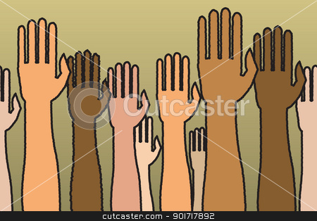 Seamless Raised Hands stock vector clipart, A horizontally seamless pattern of raised hands. by Jamie Slavy