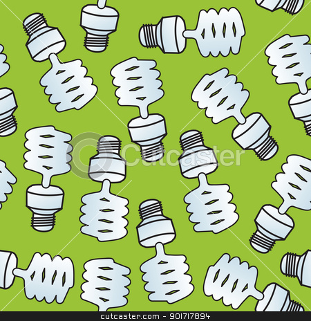 Seamless Cartoon CF Bulbs stock vector clipart, A seamless pattern of compact florescent light bulbs. by Jamie Slavy