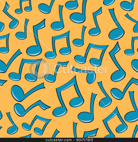 Seamless Music Note Pattern stock vector clipart, A seamless pattern of fun blue music notes. by Jamie Slavy