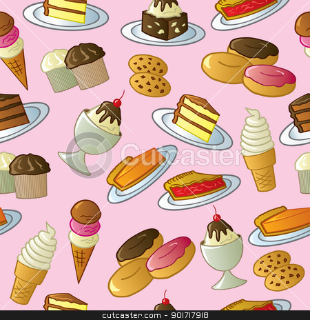 Seamless Sweets Pattern stock vector clipart, A pattern of cartoon tasty sweets and desserts. by Jamie Slavy
