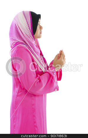 Muslimah stock photo, Female Muslim prayer on white background  by szefei